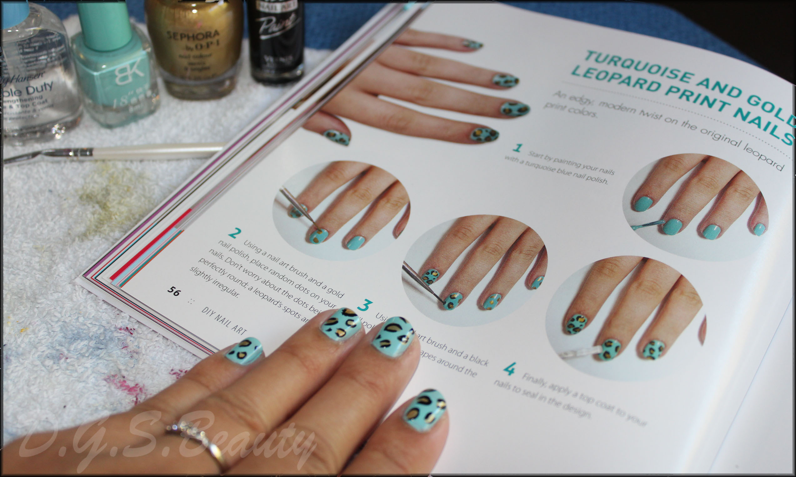 NOTW: DIY Nail Art #15 Turquoise and Gold Leopard Print Nails ...