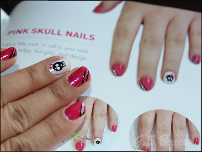 NOTW: DIY Nail Art #37 Pink Skull Nails